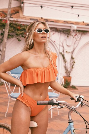 Womens Orange What Do You Sea One Shoulder Ruffle Bikini Set