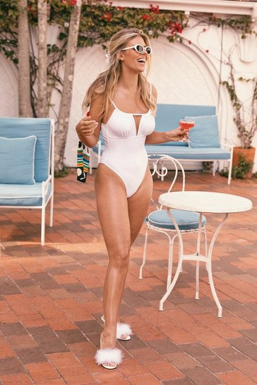 Womens White Cut-Out in the Sun High-Leg Swimsuit