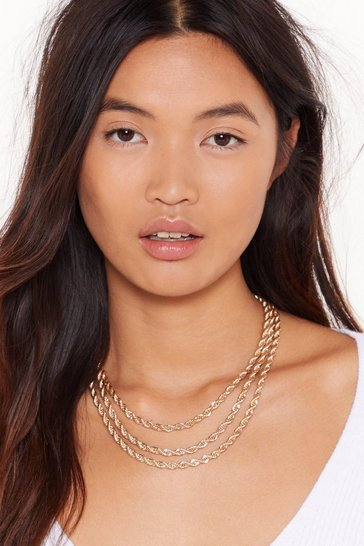 Womens Gold Triple layer rope chain necklace