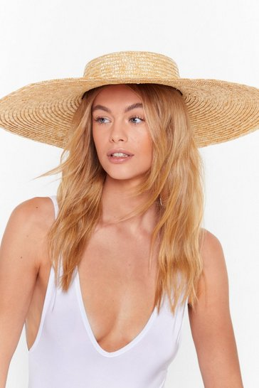 Womens Natural Straw the Line Wide Brim Hat