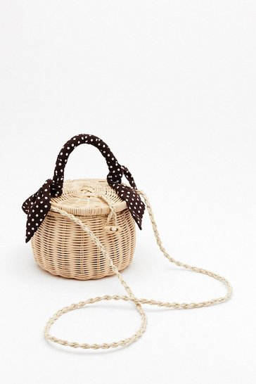 Womens Natural WANT Picnic By the Pool Basket Crossbody Bag