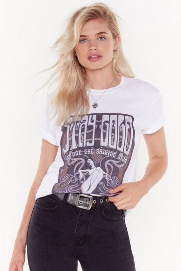 Womens White Stay Good Vintage-Inspired Graphic Tee