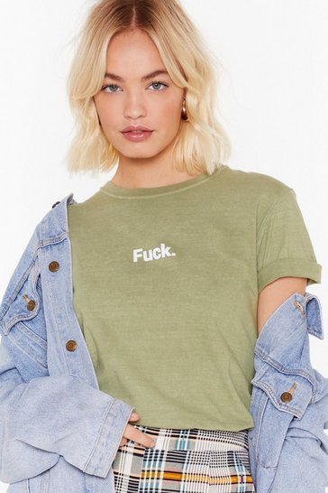 Olive Crew Neck Graphic T-Shirt