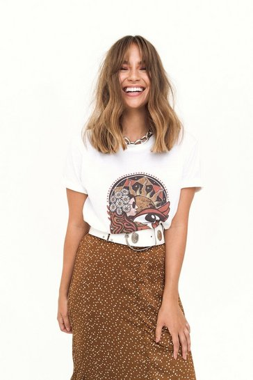 Womens Sand Open Your Mind Vintage-Inspired Graphic Tee