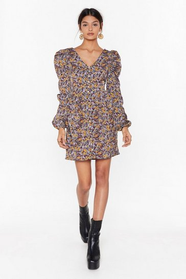 Womens Blue It's a Pearl's World Floral Mini Dress