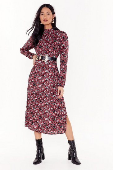 Womens Black That Bud be Us Floral Midi Dress