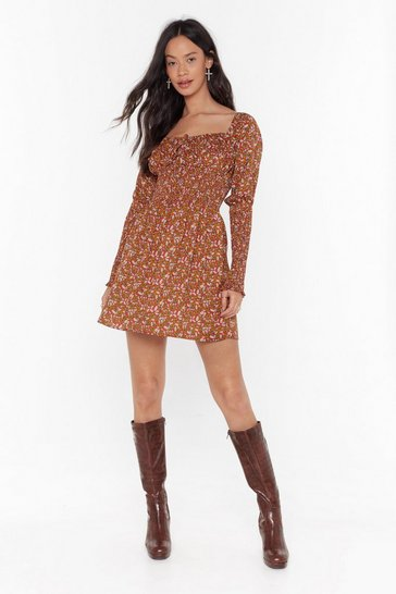 Womens Tan On Flower Way Floral Mini Dress