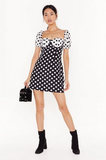 Womens Black It's Dot Cup to You Polka Dot Mini Dress