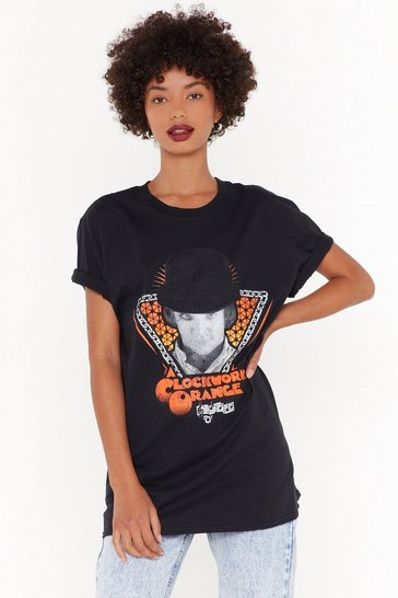 Womens Black Clockwork Orange Graphic Tee