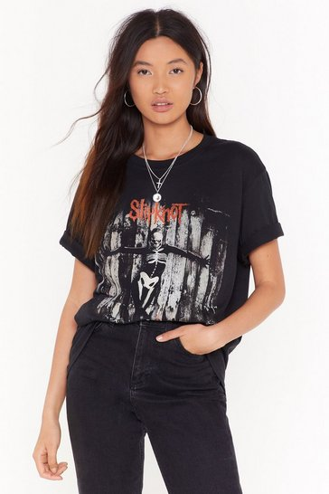 Womens Black Slip Knot Gray Chapter Graphic Band Tee