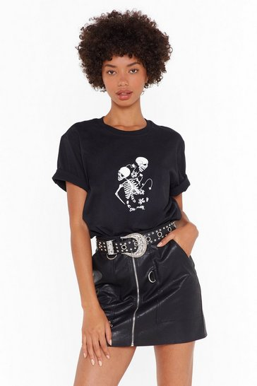 Womens Black skeleton line drawing tee