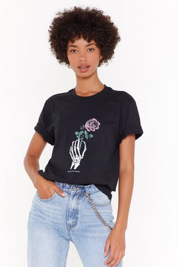 Womens Black Loves Young Dream Graphic Tee