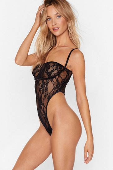 Womens Black Lace Take This Back to Mine High-Leg Bodysuit