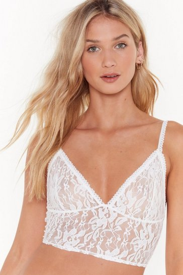 Womens White Soft Spot Lace Bralette