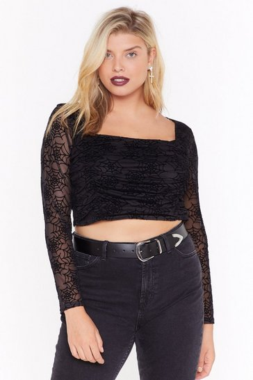 Womens Call Me Black Widow Plus Cropped Blouse