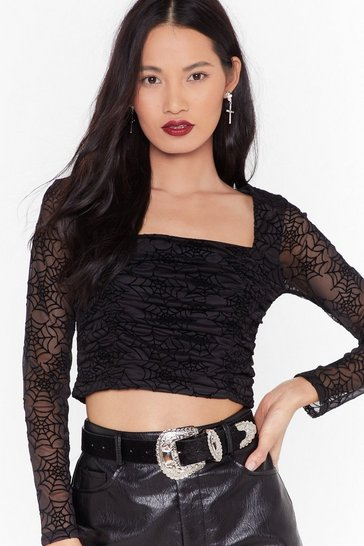 Womens Call Me Black Widow Cropped Mesh Blouse