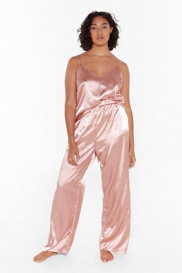 Womens Rose The Sleepover Club Plus Satin Pajama Set