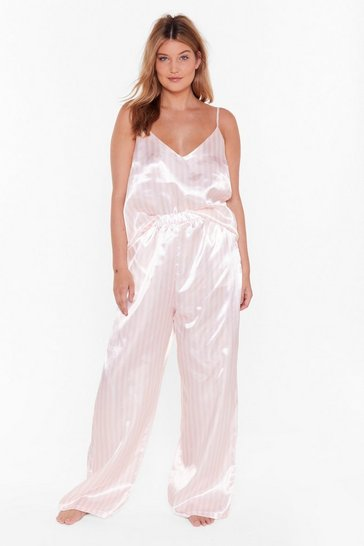 Womens Pink Today is Cancelled Plus Striped Pajama Set