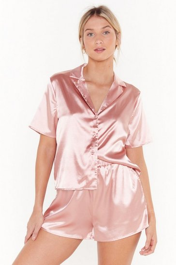 Womens Rose The Sleepover Club Satin Shirt and Shorts Pajama Set