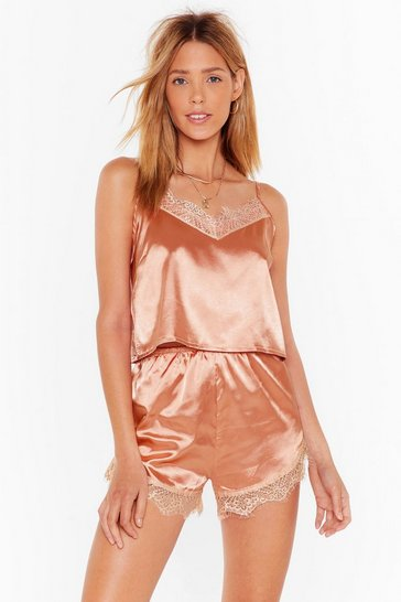 Copper Lace You to Bed Satin Pajama Shorts Set
