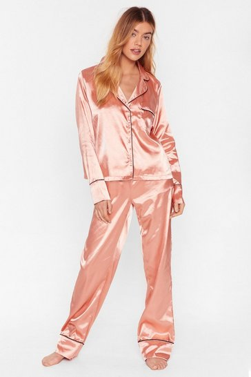 Copper Don't Loose Sleep Satin Shirt and Pants Pajama Set