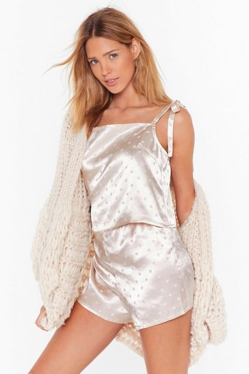 Womens Champagne Dot Nights Satin Pajama Shorts Set