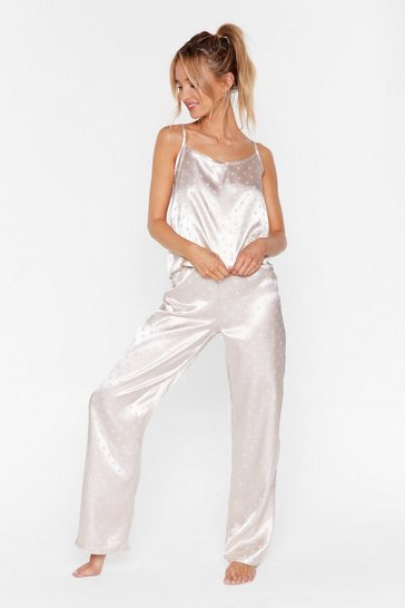 Champagne Dot Nights Satin Pajama Pants Set