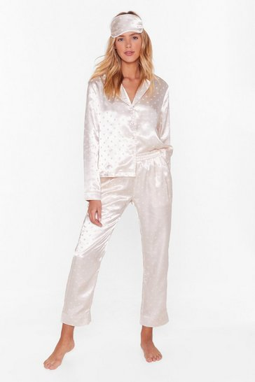 Champagne Dot Nights Satin 3-Pc Pajama Set