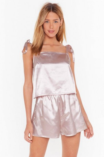 Mauve Satin Tie Cami & Short Set