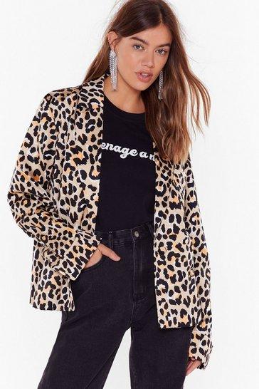 Stone Catch Meowt Oversized Leopard Blazer