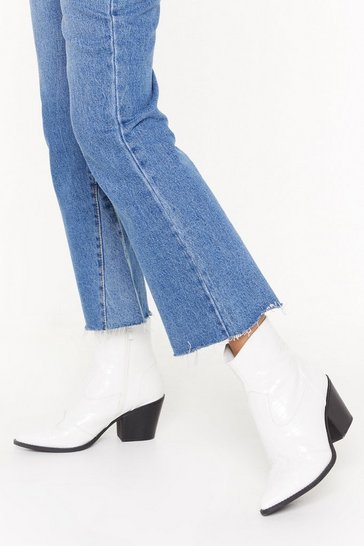 Womens White Croc These Faux Leather Ankle Boots