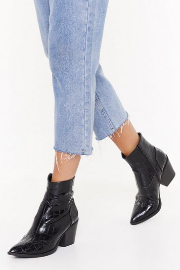 Black Can't Croc Loving You Faux Leather Western Boots