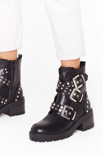 Womens Black Show Me a Stud Time Faux Leather Biker Boots
