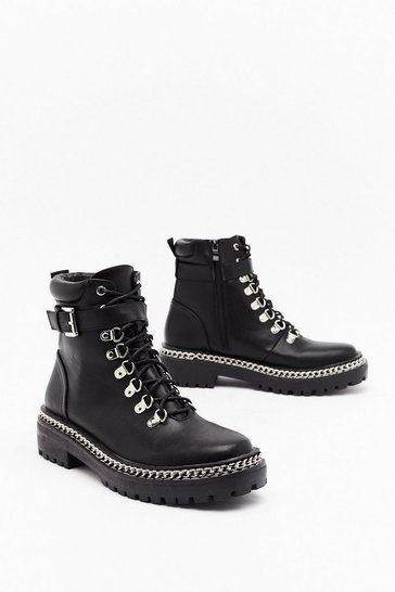 Black Don't Chain on My Parade Faux Leather Boots