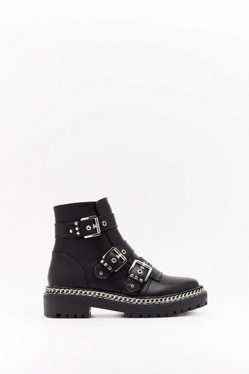Womens Black Third Time Lucky Faux Leather Buckle Boots