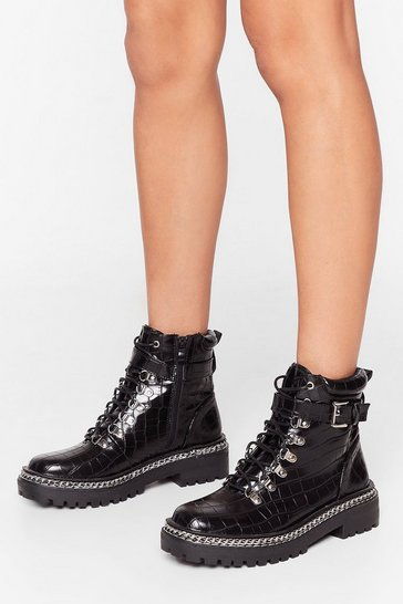 Third Time Lucky Faux Leather Croc Boots, Black
