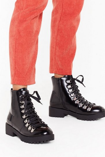 Womens Black Stand Up For Yourself Faux Leather Lace-Up Boots
