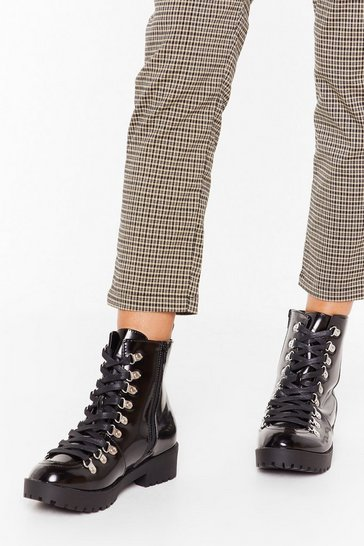 Black You'll Never Walk Alone Faux Leather Biker Boots