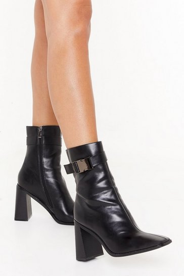 Black Buckled Faux Leather Heel Boots