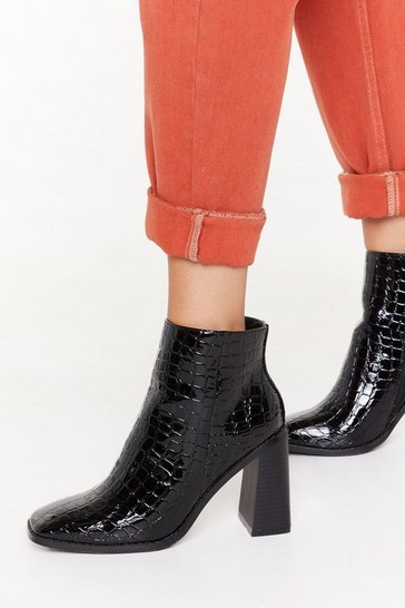 Black Girls Wanna Croc Patent Faux Leather Boots