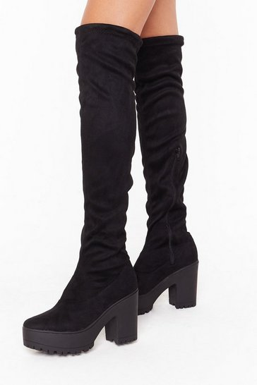 Womens Black Suede Me Love Faux Suede Over-the-Knee Boots
