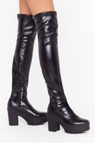 Womens Black Pu Thigh High Block Heel Boots