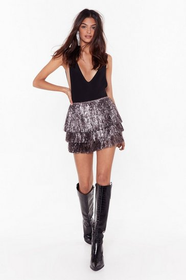 Pewter Party Crasher Metallic Fringe Shorts