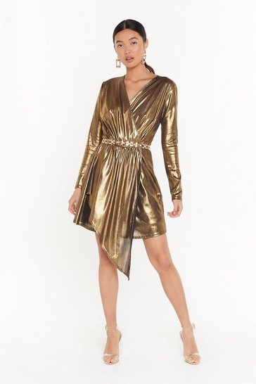 Womens Gold All That Shines Metallic Mini Dress