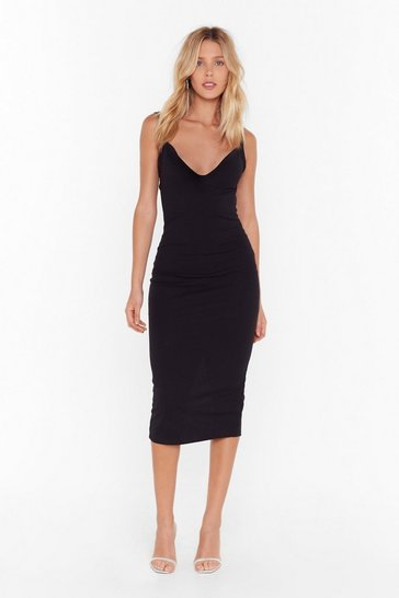 Womens Black Feelings Run Deep Plunge Midi Dress
