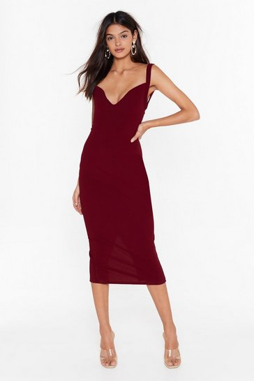 Womens Wine Feelings Run Deep Plunge Midi Dress