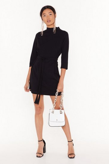 Womens Black Out Front Belted Mini Dress