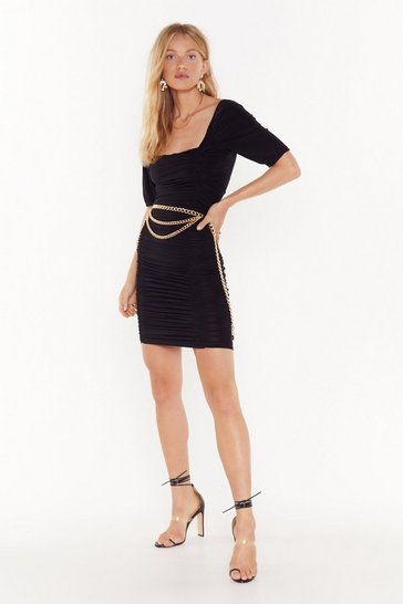 Black Showin' Off Our Slinky Side Ruched Midi Dress