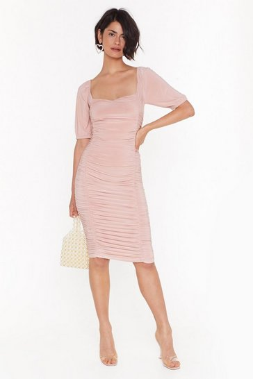 Womens Rose Showin' Off Our Slinky Side Ruched Midi Dress