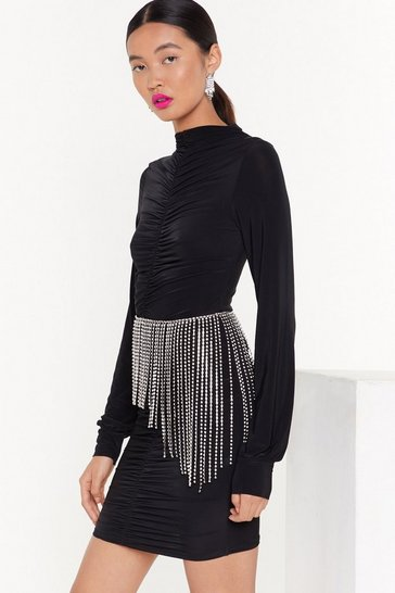 Black High 'N  Dry Ruched Mini Dress